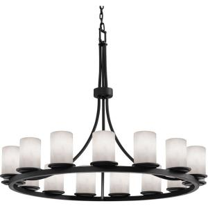 Clouds Dakota - 42 Inch Ring Chandelier with Cylinder Flat Rim Cloud Resin Shades