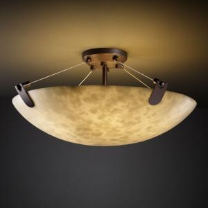 Clouds U-Clips - 21 Inch Bowl Semi-Flush Mount with Round Bowl Cloud Resin Shades