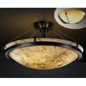 Clouds Ring - 63 Inch Round Semi-Flush Mount with Round Bowl Cloud Resin Shades