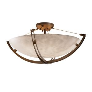 Clouds Crossbar - 22 Inch Bowl Semi-Flush Mount with Round Bowl Cloud Resin Shades