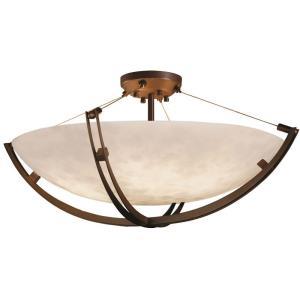 Clouds Crossbar - 42 Inch Bowl Semi-Flush Mount with Round Bowl Cloud Resin Shades