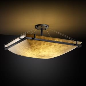 Clouds Ring - 40 Inch Squre Semi-Flush Mount with Square Bowl Cloud Resin Shades