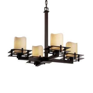 CandleAria Metropolis - 4 Light Chandelier with Cream Cylinder Melted Rim Faux Candle Shades