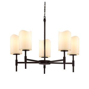 CandleAria Union - 5 Light Chandelier with Cream Cylinder Melted Rim Faux Candle Shades