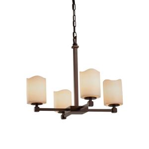CandleAria Tetra - 4 Light Chandelier with Cream Cylinder Melted Rim Faux Candle Shades