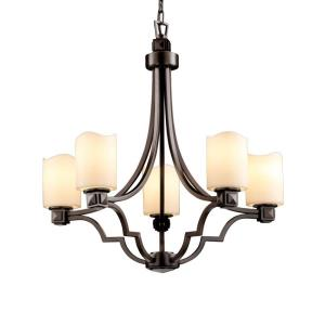CandleAria Argyle - 5 Light Chandelier with Cream Cylinder Melted Rim Faux Candle Shades
