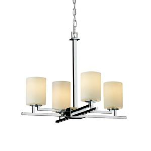 CandleAria Aero - 4 Light Chandelier with Cream Cylinder Flat Rim Faux Candle Shades