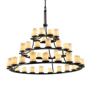 CandleAria Dakota - 45 Light 3-Tier Ring Chandelier with Cream Cylinder Melted Rim Faux Candle Shades