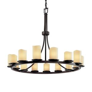 CandleAria Dakota - 15 Light Ring Chandelier with Cream Cylinder Melted Rim Faux Candle Shades