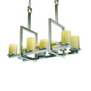 CandleAria Dakota - 8 Light Up and 3-Downlight Bridge Chandelier with Cream Cylinder Flat Rim Faux Candle Shades