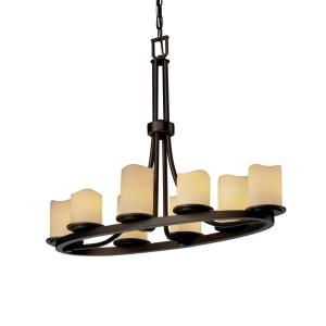 CandleAria Dakota - 8 Light Oval Ring Chandelier with Cream Cylinder Melted Rim Faux Candle Shades