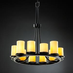 CandleAria Dakota - 12 Light Tall Ring Chandelier with Amber Cylinder Flat Rim Faux Candle Shades
