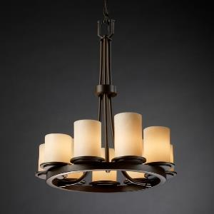 CandleAria Dakota - 9 Light Ring Chandelier with Cream Cylinder Flat Rim Faux Candle Shades