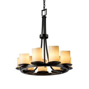 CandleAria Dakota - 9 Light Ring Chandelier with Cream Cylinder Melted Rim Faux Candle Shades