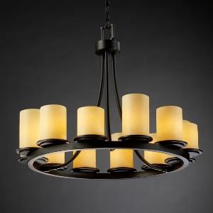 CandleAria Dakota - 12 Light Short Ring Chandelier with Amber Cylinder Flat Rim Faux Candle Shades