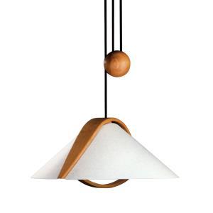 Domus - Two Light Beech Wood Pull-Down Pendant