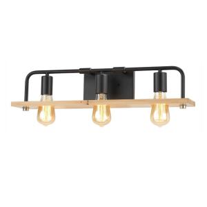 EVOLV Eco Loft - 3 Light Bath Bar with Matte Black Finish and Natural Wood Accent