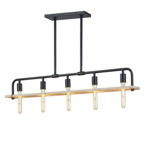 EVOLV Eco Loft - 5 Light Island Chandelier with Matte Black Finish and Natural Wood Accent