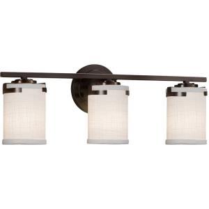 Textile Atlas - 3 Light Bath Bar with Cylinder Flat Rim Gray Woven Fabric Shade