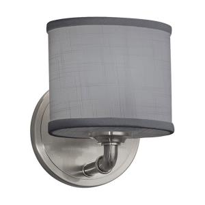 Textile Bronx - 1 Light ADA Wall Sconce with Oval Gray Woven Fabric Shade