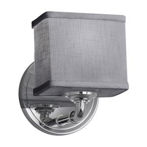 Textile Bronx - 1 Light ADA Wall Sconce with Rectangle Gray Woven Fabric Shade