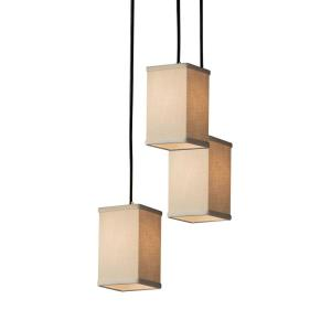 Textile - 3 Light Cluster Small Pendant with Square Flat Rim Cream Woven Fabric Shade