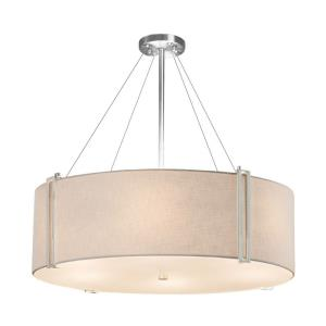 Textile Reveal - 8 Light 36 Inch Drum Pendant with Drum Cream Woven Fabric Shade