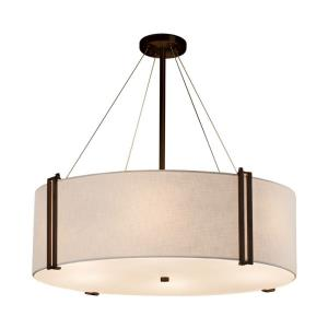 Textile Reveal - 8 Light 36 Inch Drum Pendant with Drum White Woven Fabric Shade