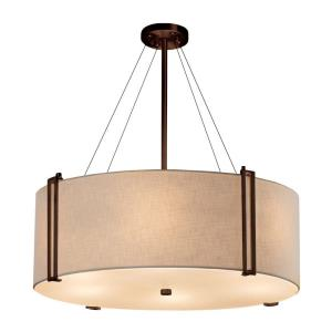 Textile Reveal - 8 Light 48 Inch Drum Pendant with Drum Cream Woven Fabric Shade