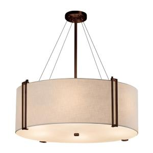 Textile Reveal - 8 Light 48 Inch Drum Pendant with Drum White Woven Fabric Shade