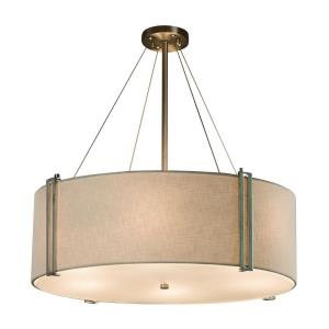 Textile Reveal - 8 Light 48 Inch Drum Pendant with Drum Gray Woven Fabric Shade