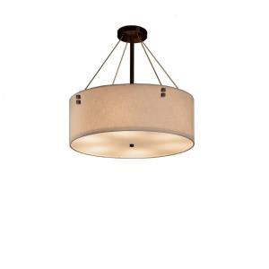 Textile Finials - 3 Light 18 Inch Drum Pendant with Cylinder Finials and Drum Cream Woven Fabric Shade