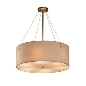 Textile Finials - 8 Light 36 Inch Drum Pendant with Cylinder Finials and Drum Cream Woven Fabric Shade