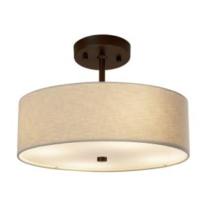 Textile Classic - 2 Light 14 Inch Drum Pendant with Drum Cream Woven Fabric Shade
