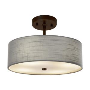 Textile Classic - 2 Light 14 Inch Drum Pendant with Drum Gray Woven Fabric Shade