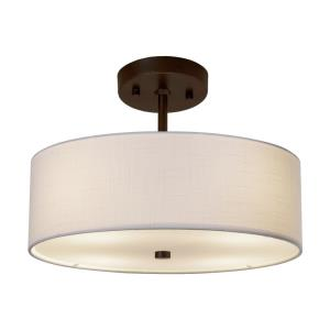 Textile Classic - 2 Light 14 Inch Drum Pendant with Drum White Woven Fabric Shade
