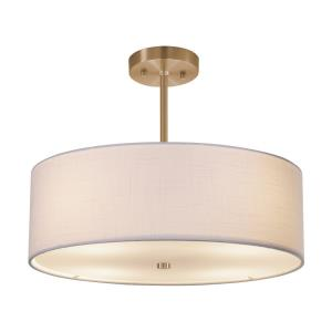 Textile Classic - 3 Light 18 Inch Drum Pendant with Drum White Woven Fabric Shade