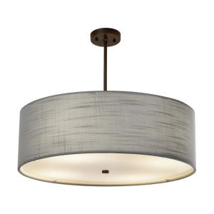 Textile Classic - 6 Light 24 Inch Drum Pendant with Drum Gray Woven Fabric Shade