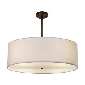 Textile Classic - 6 Light 24 Inch Drum Pendant with Drum White Woven Fabric Shade