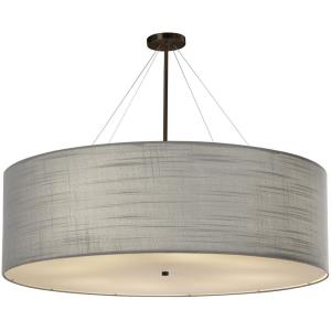 Textile Classic - 8 Light 48 Inch Drum Pendant with Drum Gray Woven Fabric Shade