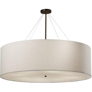 Textile Classic - 8 Light 48 Inch Drum Pendant with Drum White Woven Fabric Shade