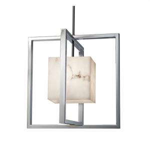 LumenAria Rubik - 1 Light Pendant with Square Faux Alabaster Shade
