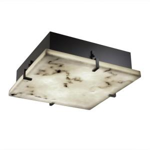 LumenAria Clips - 16.5 Inch 39W 3 LED Square Wall/Flush Mount with Faux Alabaster Shade