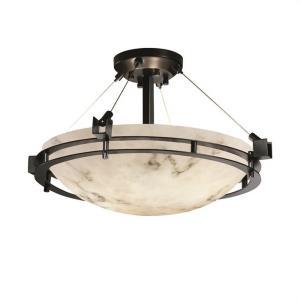 LumenAria Metropolis - 3 Light Semi-Flush Mount with Round Bowl Faux Alabaster Shade