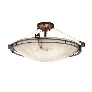 LumenAria Metropolis - 6 Light Semi-Flush Mount with Round Bowl Faux Alabaster Shade