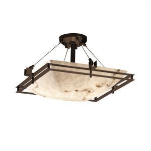 LumenAria Metropolis - 3 Light Semi-Flush Mount with Square Bowl Faux Alabaster Shade