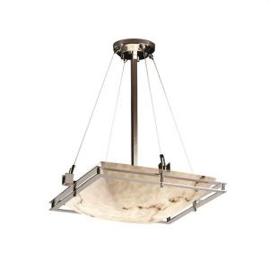 LumenAria Metropolis - 3 Light Pendant with Square Bowl Faux Alabaster Shade