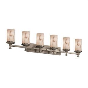LumenAria Deco - 6 Light Bath Bar with Cylinder/Flat Rim Faux Alabaster Shade