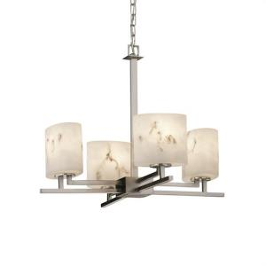 LumenAria Aero - 4 Light Chandelier with Oval Faux Alabaster Shade