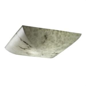 LumenAria - 24 Inch 65W 5 LED Semi-Flush Mount with Square Bowl Faux Alabaster Shade